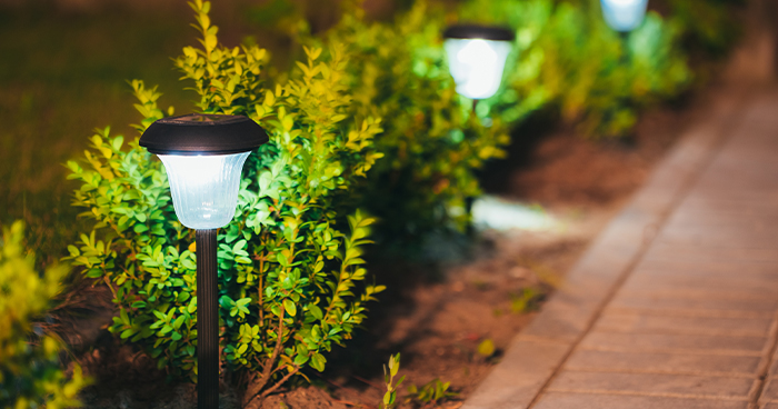Solar garden lighting is a great way to keep the bills down.